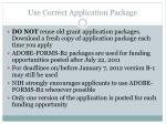 use correct application package