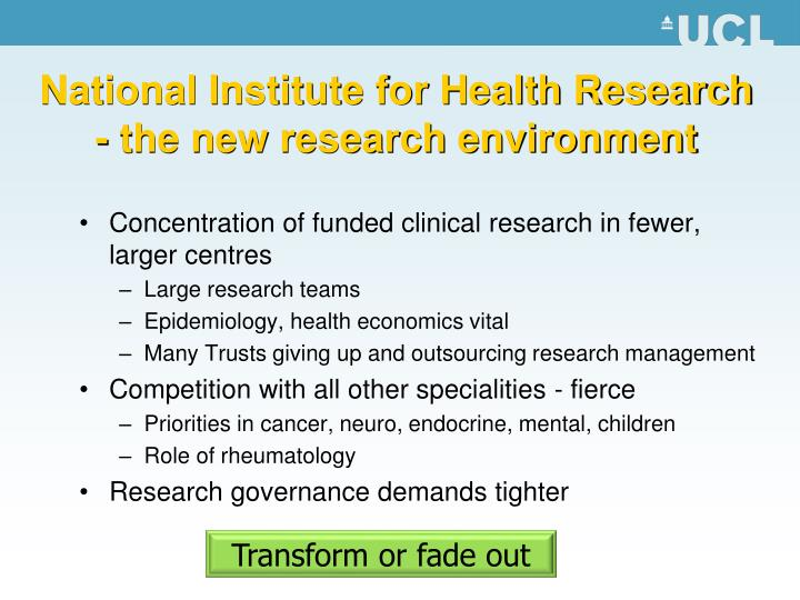 National Institute for Health Research - the new research environment
