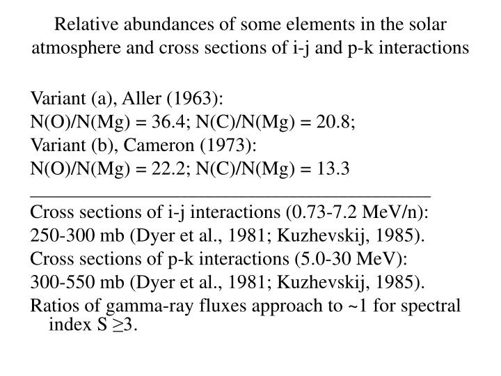 Relative abundances of some elements in the solar atmosphere and cross sections of i-j and p-k inter...