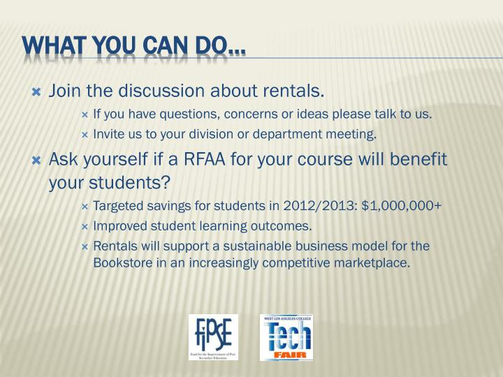 Join the discussion about rentals.