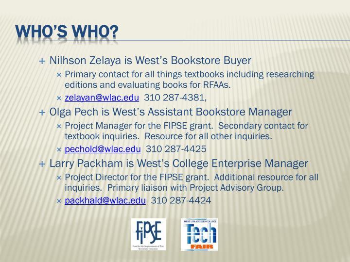 Nilhson Zelaya is West's Bookstore Buyer