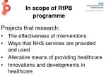 in scope of rfpb programme