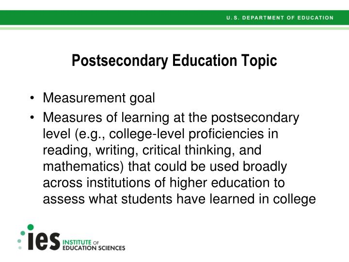 Postsecondary Education Topic