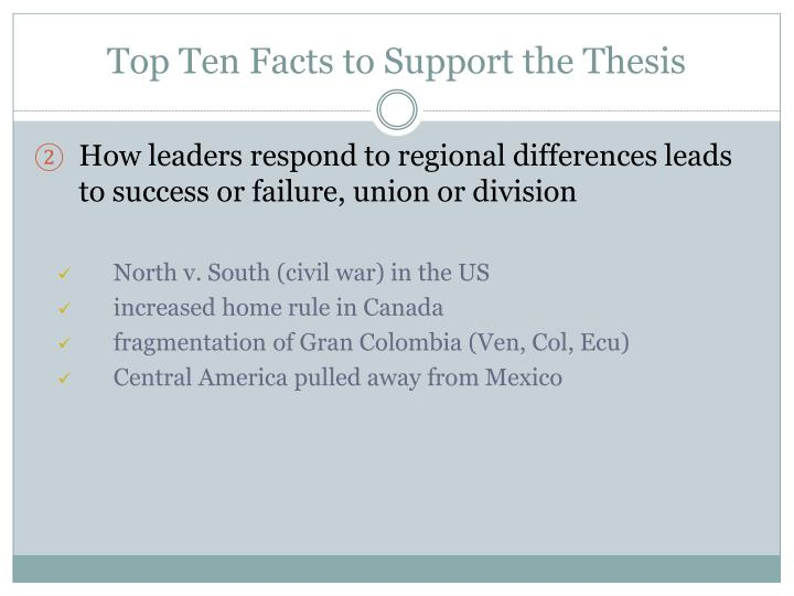 Top ten facts to support the thesis1