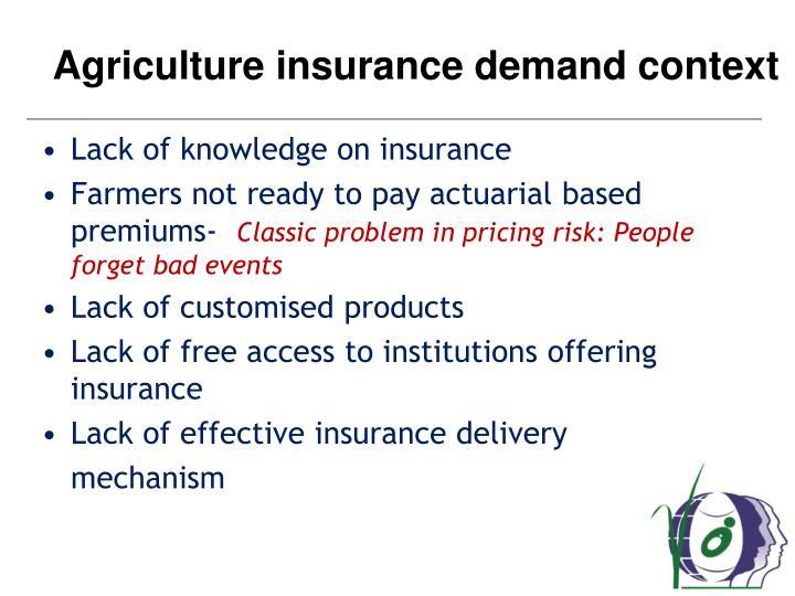 Agriculture insurance demand context