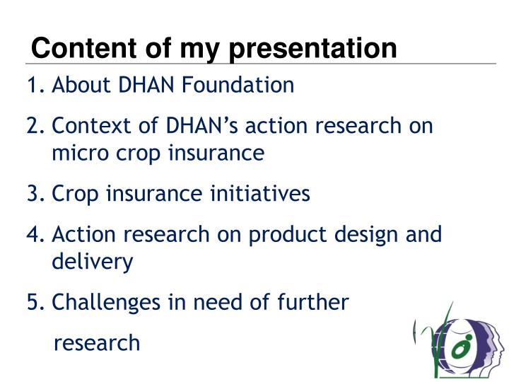 Content of my presentation