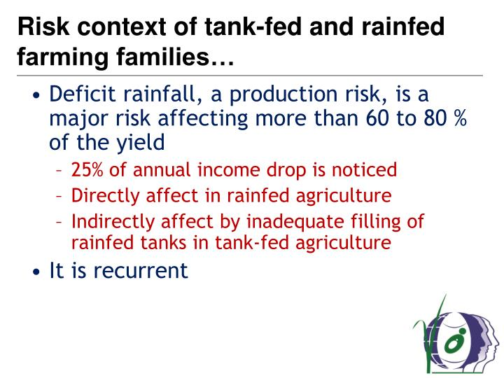 Risk context of tank-fed and rainfed farming families…