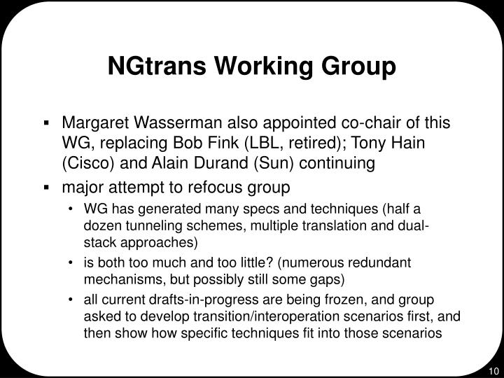 NGtrans Working Group
