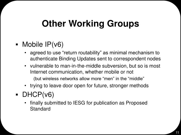 Other Working Groups