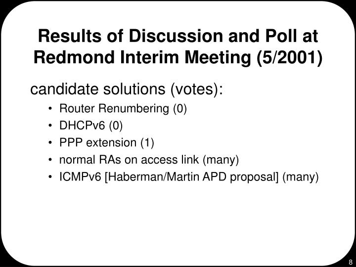 Results of Discussion and Poll at Redmond Interim Meeting (5/2001)