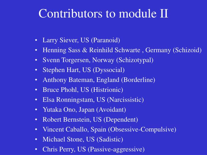 Contributors to module II
