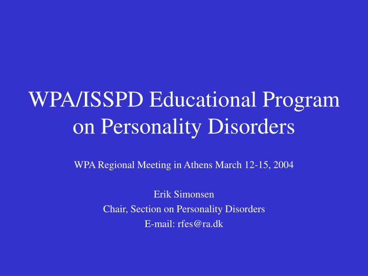 Wpa isspd educational program on personality disorders