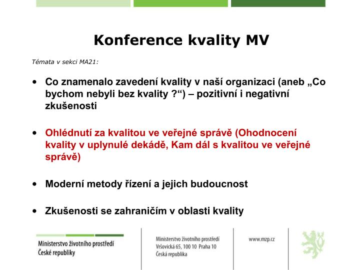 Konference kvality MV
