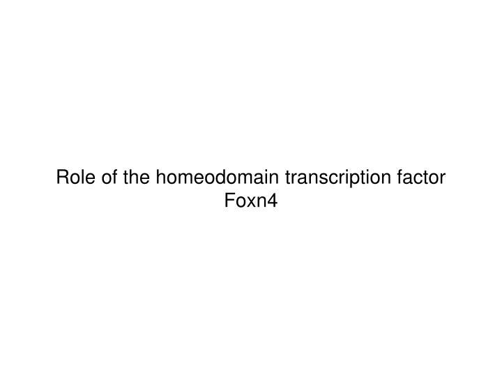 Role of the homeodomain transcription factor Foxn4