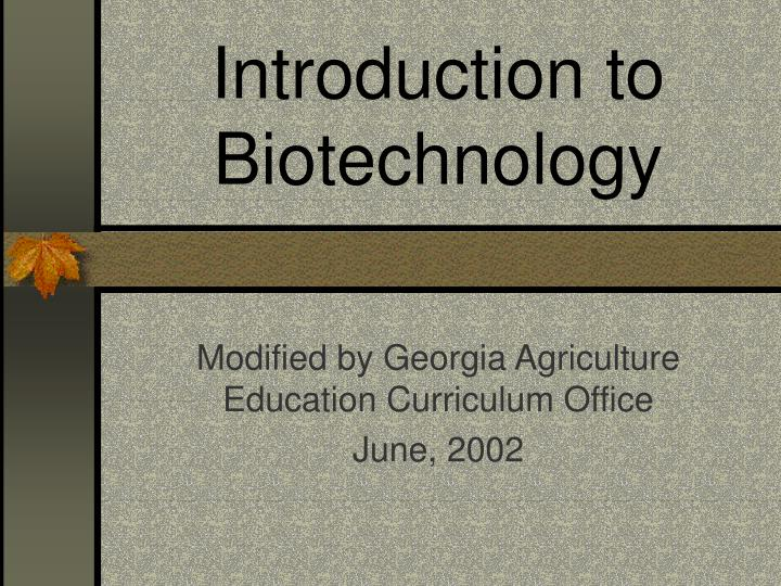 introduction to biotechnology n.