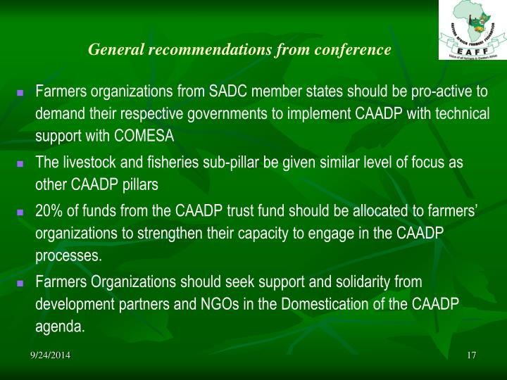 General recommendations from conference