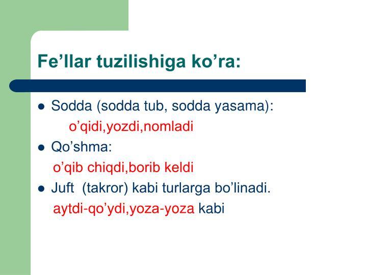 Fe'llar tuzilishiga ko'ra: