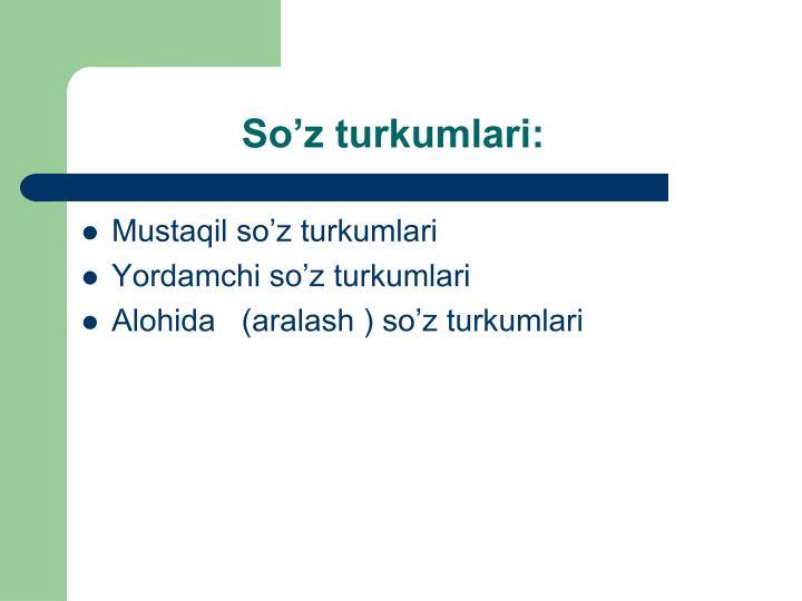 So'z turkumlari: