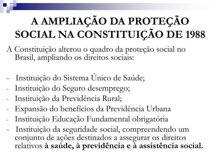 A amplia o da prote o social na constitui o de 1988