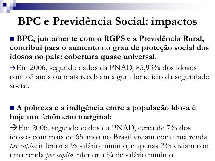 BPC e Previdência Social: impactos