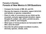 forestry society forests of new mexico sw questions
