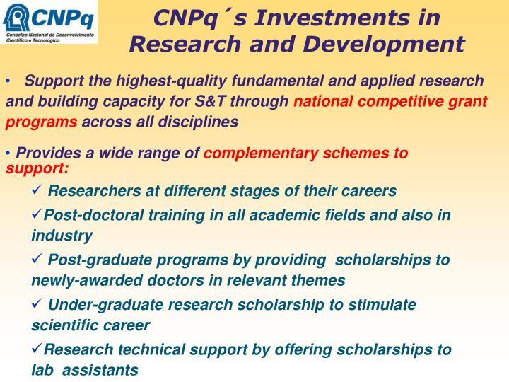 CNPq´s Investments in Research and Development