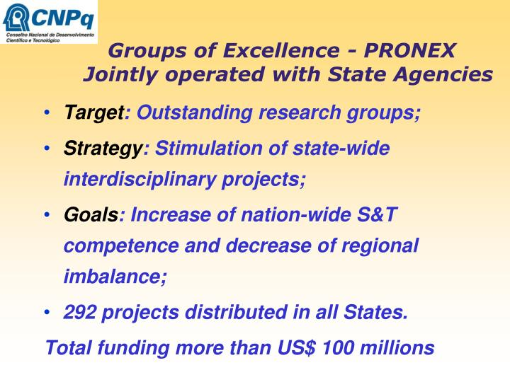 Groups of Excellence - PRONEX