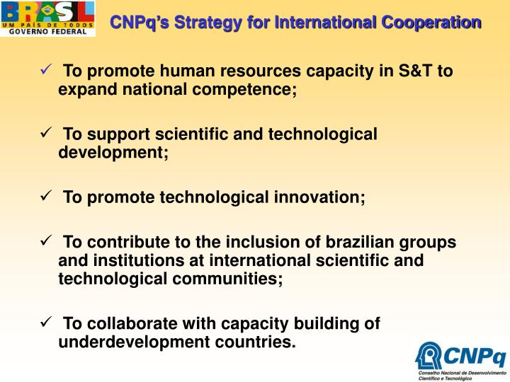 CNPq's Strategy for International Cooperation