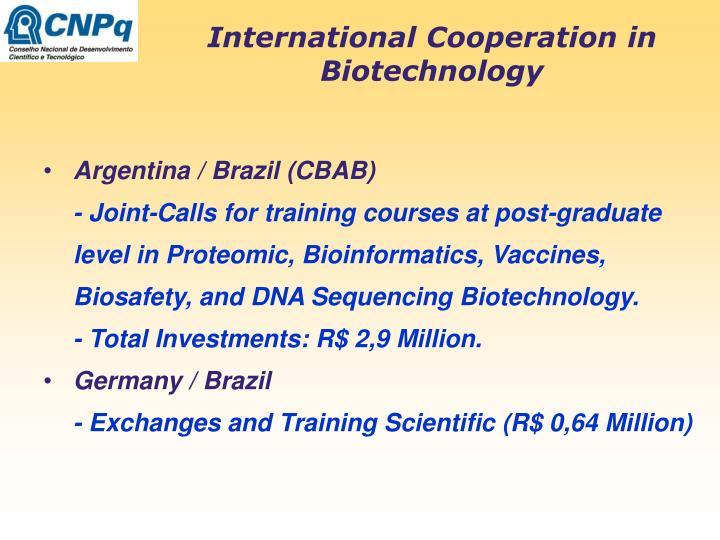 International Cooperation in Biotechnology