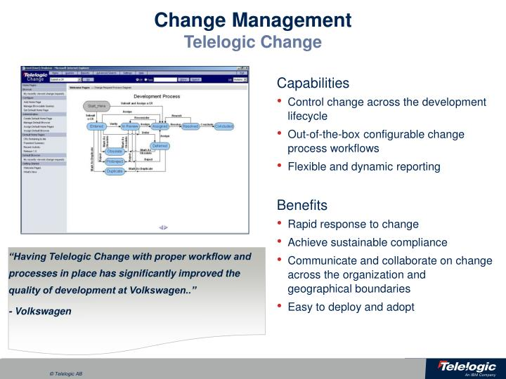 """""""Having Telelogic Change with proper workflow and processes in place has significantly improved the quality of development at Volkswagen.."""""""