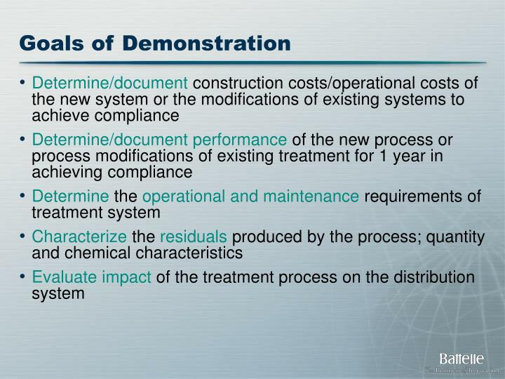Goals of Demonstration