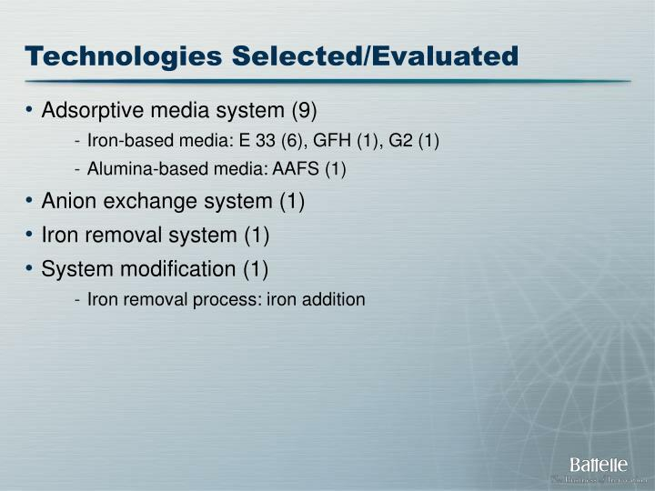 Technologies Selected/Evaluated