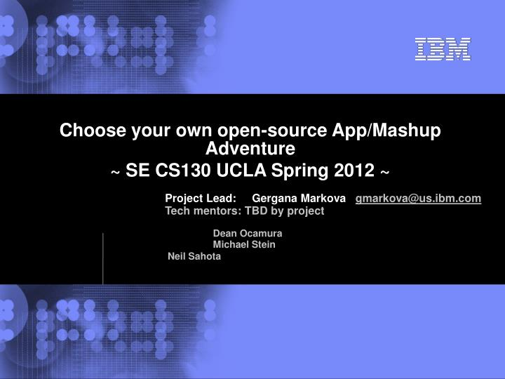 Ppt Choose Your Own Open Source App Mashup Adventure