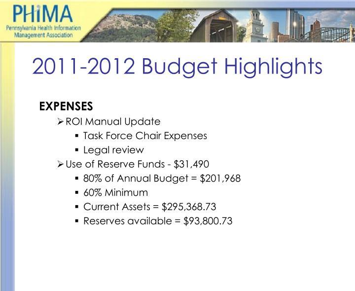 2011-2012 Budget Highlights
