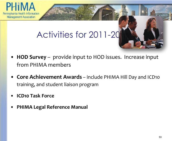 Activities for 2011-2012