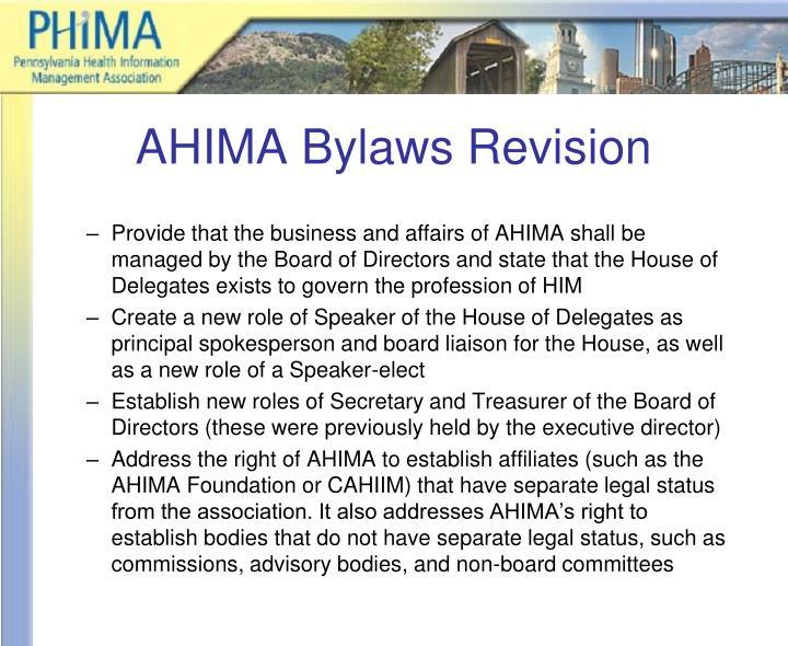 Ahima bylaws revision