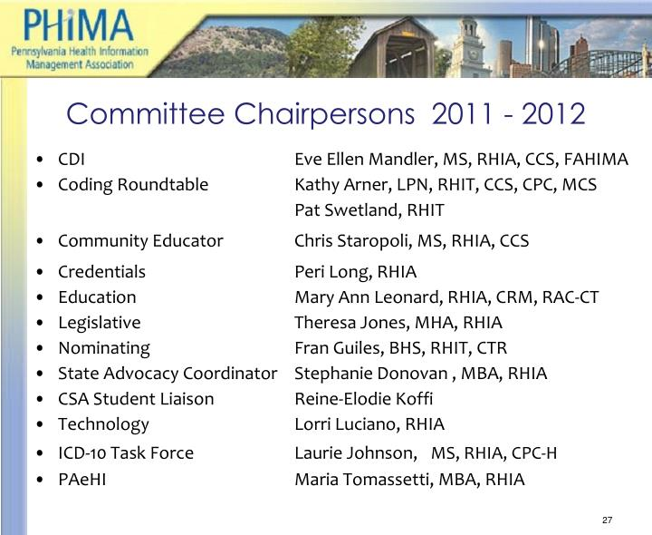 Committee Chairpersons  2011 - 2012