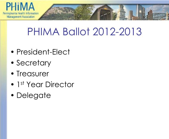 PHIMA Ballot 2012-2013