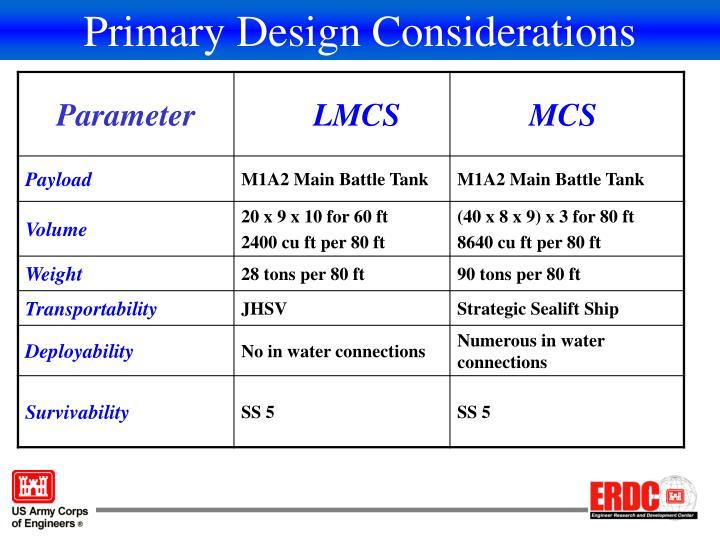 Primary Design Considerations