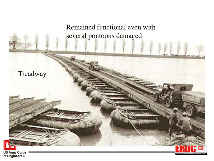 Remained functional even with several pontoons damaged