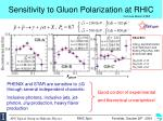 sensitivity to gluon polarization at rhic