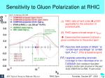 sensitivity to gluon polarization at rhic1
