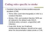 coding rules specific to stroke
