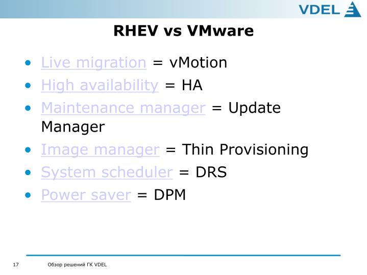 RHEV vs VMware