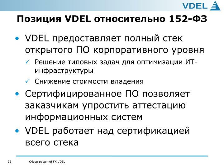 Позиция VDEL относительно 152-ФЗ