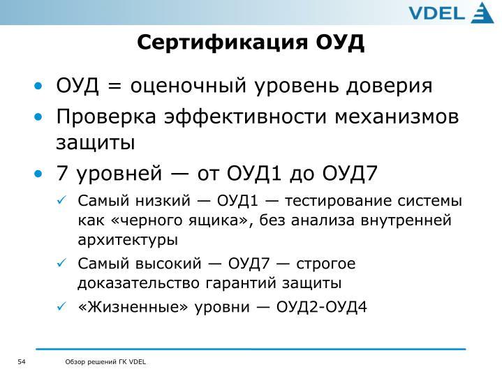 Сертификация ОУД