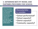 3 determine best fit model and partners providers for school