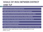 goals of mou between district and tlp