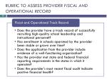 rubric to assess provider fiscal and operational record