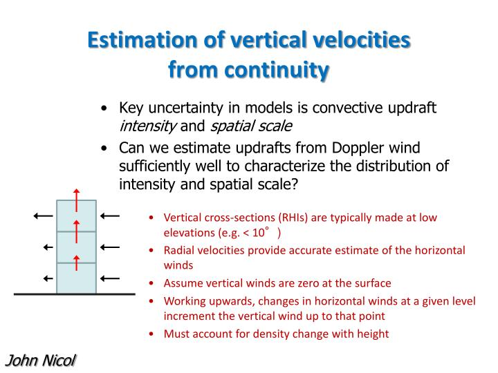 Estimation of vertical velocities from continuity